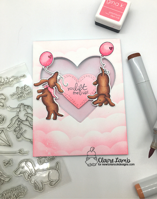 You lift me up by Claire features Clouds and Delightful Doxies by Newton's Nook Designs; #newtonsnook, #inkypaws, #cardmaking, #dogcards, #valentinescards