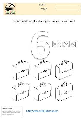 Mewarnai Angka 6 (enam) dan Mewarnai Gambar Tas