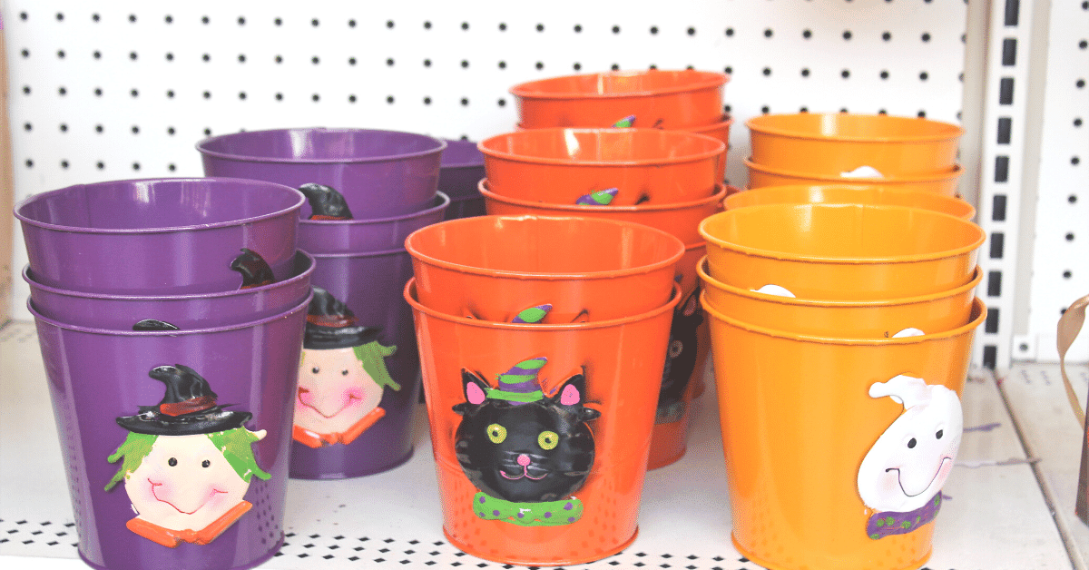Halloween decorations with a witch and black cat