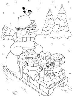 דף צביעה בובות שלג מחליקות בשלג