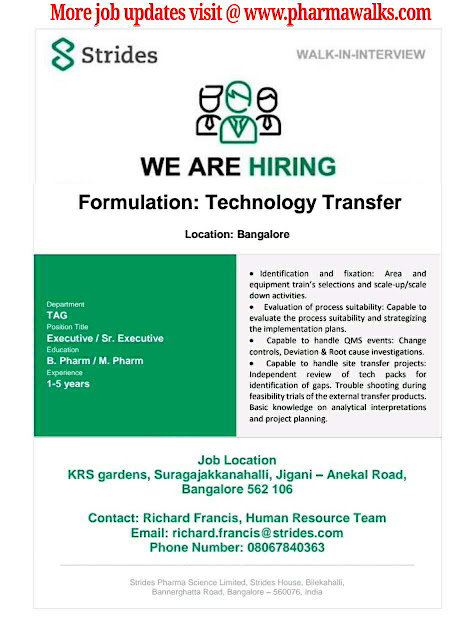 Strides Pharma urgent openings for Technology Transfer department