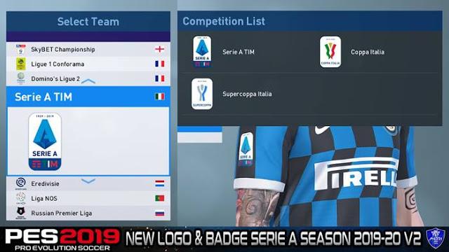 PES 2019 Serie A Season 2019/2020 Logo & Badge V2 By Sofyan Andri