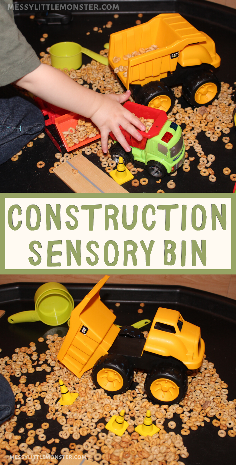 Construction sensory play for toddlers. Edible sensory play ideas.