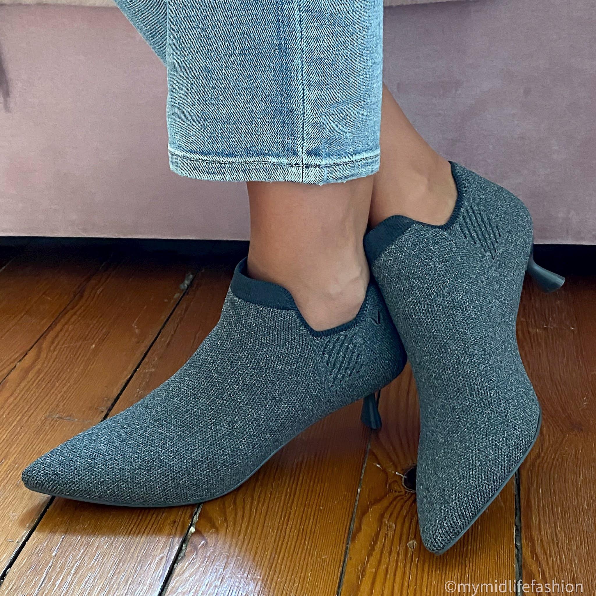 my midlife fashion, vivaia collection, vivaia collection rich grey ankle boots
