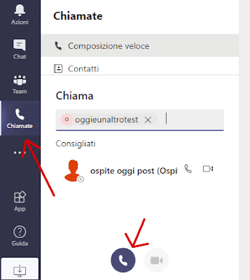 Come fare audio chiamata con Teams