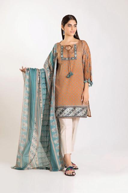 khaadi winter collection beige color 3 piece suit