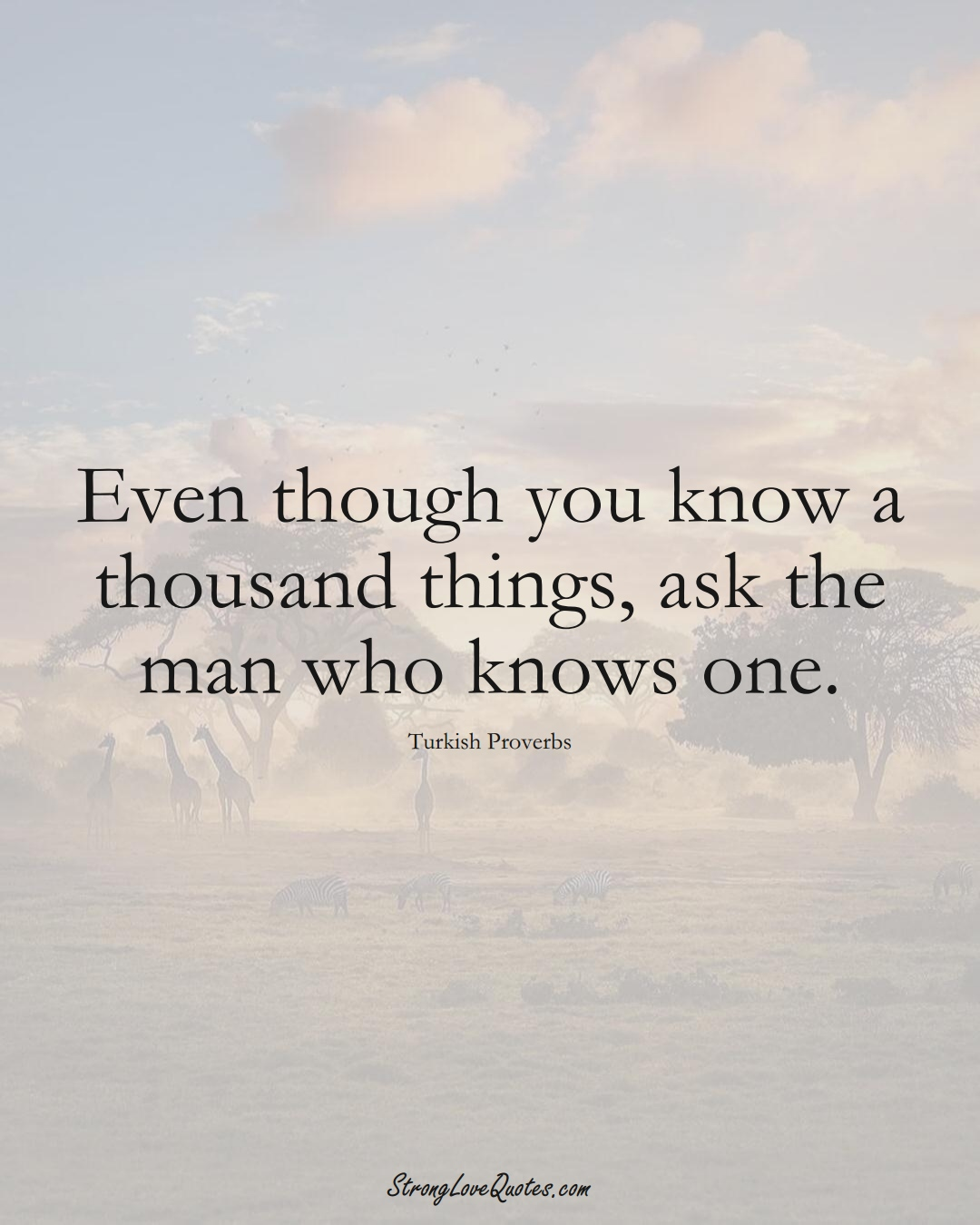 Even though you know a thousand things, ask the man who knows one. (Turkish Sayings);  #MiddleEasternSayings