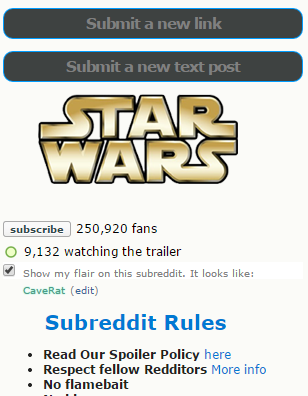 Reddit sobre Star Wars