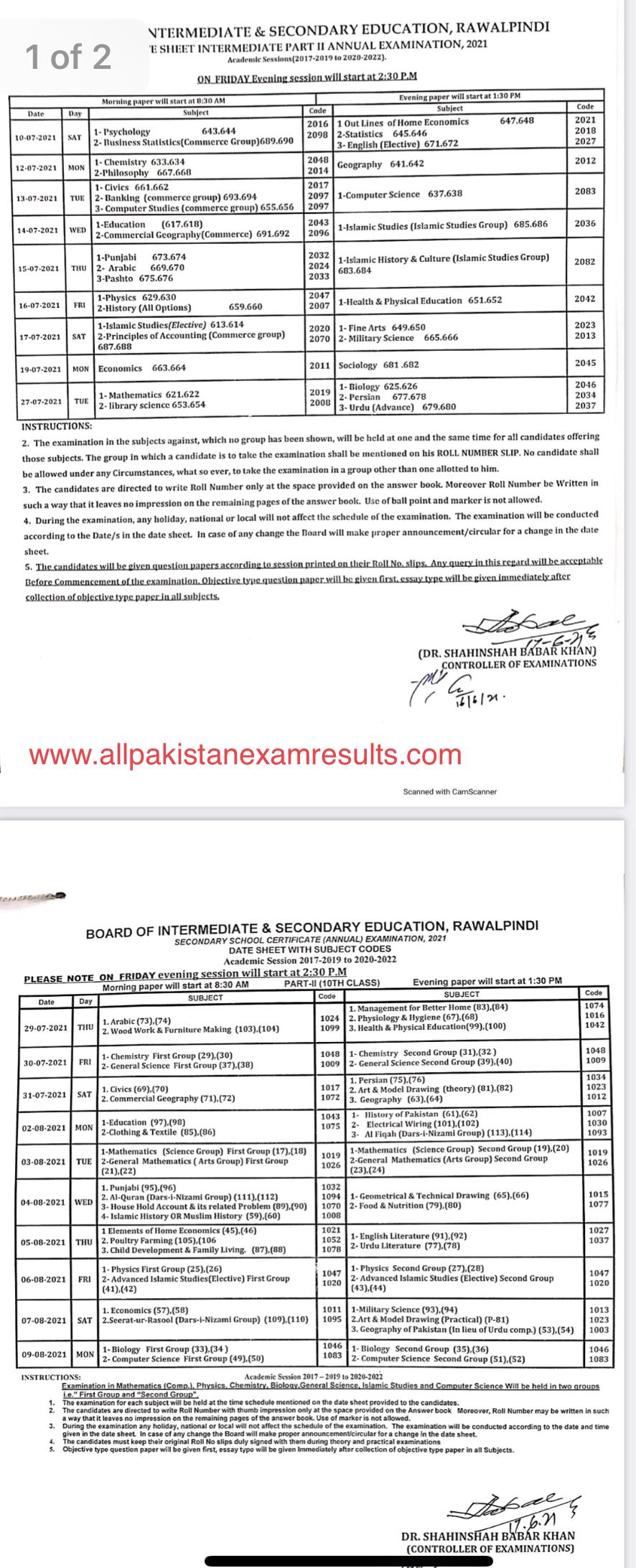 Date Sheet BISE Rawalpindi 2021 Matric & Inter Part 2