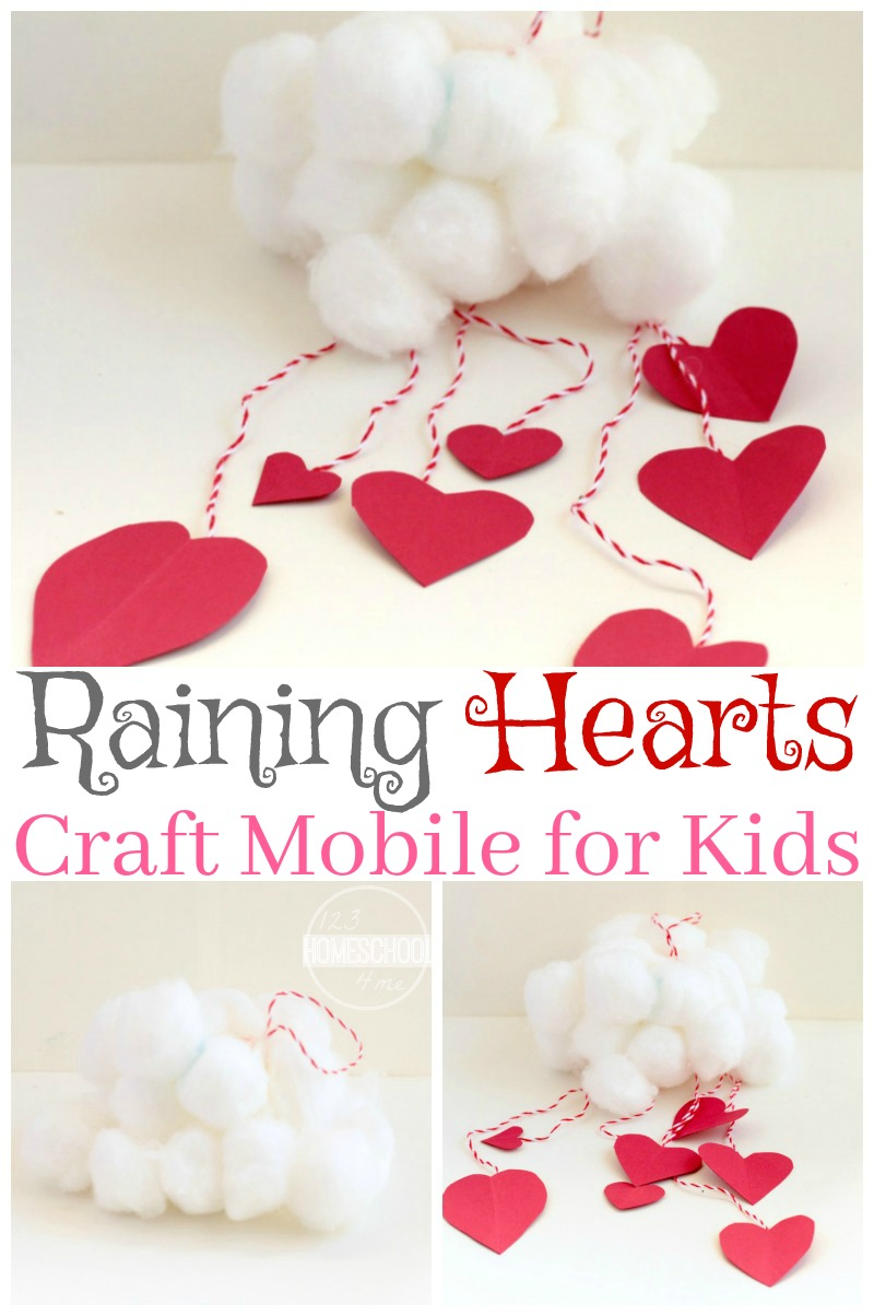 Raining hearts cloud mobile craft for Preschool crafts for february