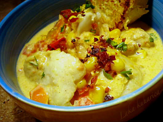 Cod and corn chowder with saffron by Laka kuharica: easy to make light fish and corn chowder.