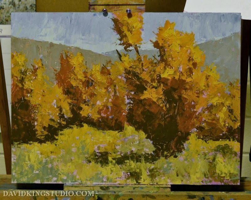 art painting landscape wip acrylic palette knife autumn