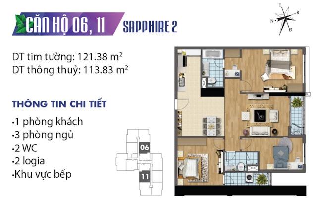 Thiết kế căn hộ số 6 và 11 tòa Sapphire 2