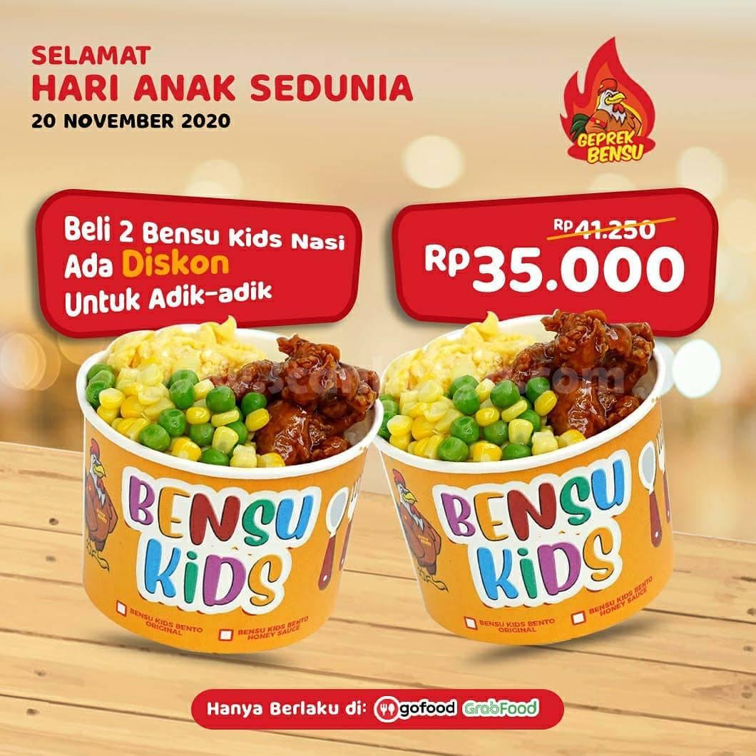 Geprek Bensu Promo Hari Anak Sedunia: Beli 2 Bensu Kids Nasi hanya 35.000