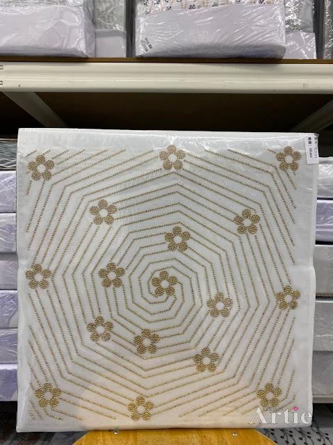 Hotfix stickers dmc rhinestone aplikasi tudung bawal fabrik pakaian sarang labah-labah dgn bunga bunga gold