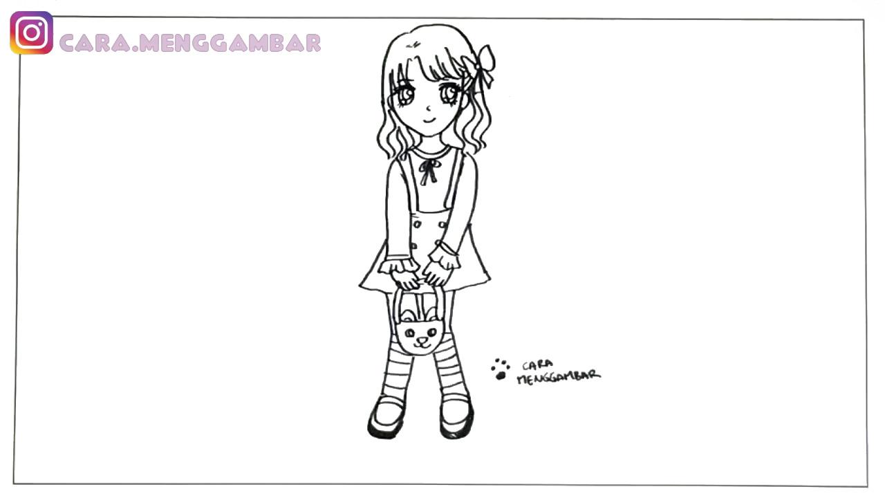 Tutorial Cara Menggambar Dan Mewarnai Anak Perempuan Anime