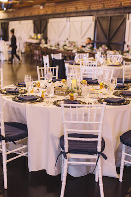 white and navy reception decorations