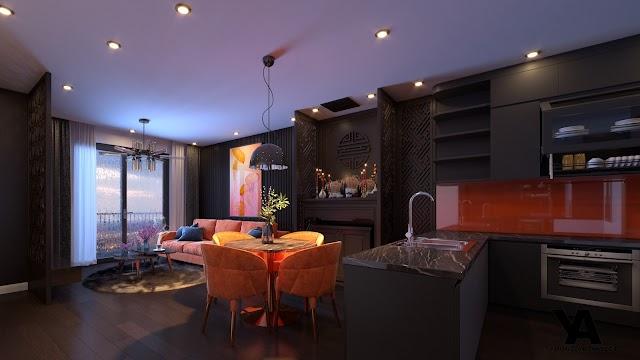 Nội thất chung cư theo phong cánh Đông Phương kèm model su download