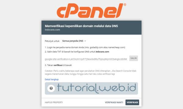 Cara Memverifikasi Kepemilikan Domain Melalui Data DNS di Cpanel