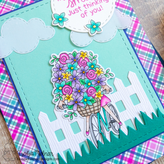 My Heart Smiles Card by Zsofia Molnar | Loads of Blooms Stamp Set, Sky Scene Builder Die Set, Fence Die Set, Land Borders Die Set and Frames & Flags Die Set by Newton's Nook Designs #newtonsnook #handmade