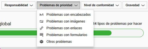 Desplegable 'Problemas de prioridad' con las opciones: Problemas con encabezados, con imágenes, con enlaces, con formularios, otros problemas.