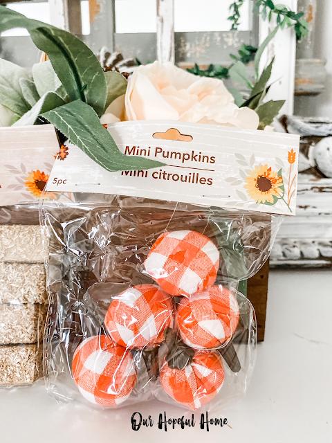 orange plaid mini pumpkins