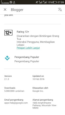 versi app blogger