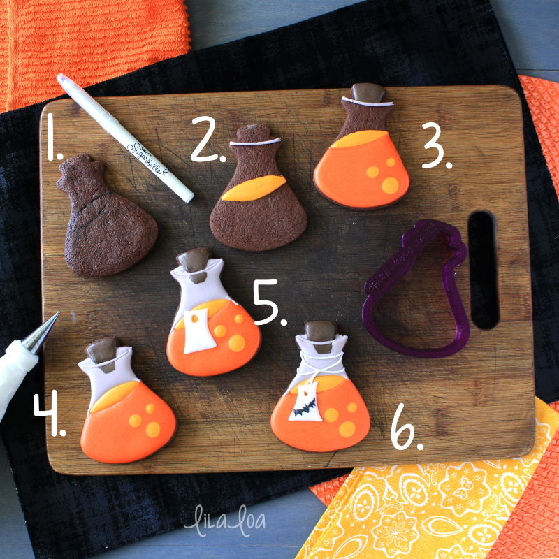 how to make Halloween potion bottle cookies - a step by step cookie decorating tutorial
