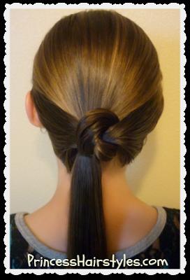 Cute ponytail hair knot video tutorial.
