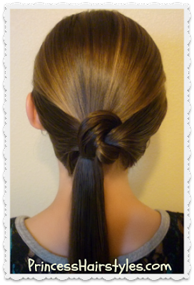 Cute ponytail hair knot video tutorial.