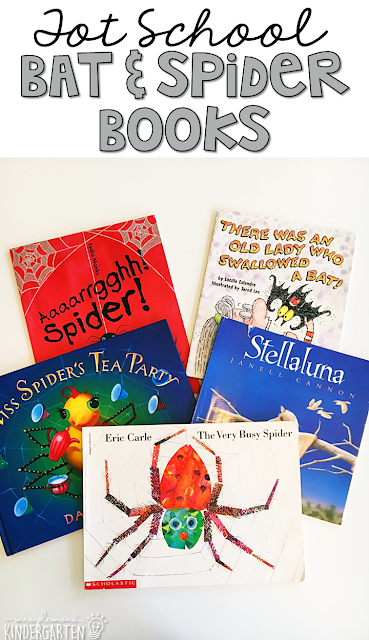 5 great books to read aloud for a bat & spider theme. Perfect for tot school, preschool, or even kindergarten.