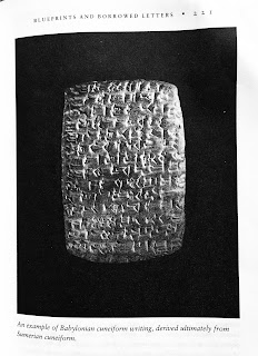 Page 221. An example of Babylonian cuneiform writing derived ultimately from Sumerian cuneiform. Jared Diamond. Guns, Germs, and Steel. All tables and figures.