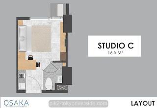 Tipe Studio C Apartemen Osaka Riverview