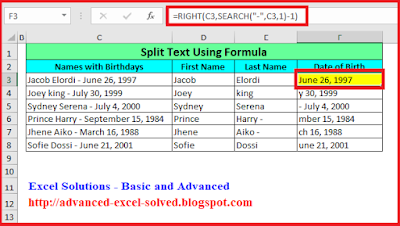 Split Cell Content using Excel Formula - Functions RIGHT & SEARCH
