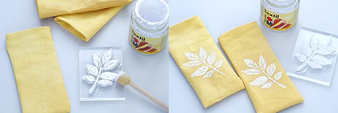 Gelbe Stoffsäckchen mit weißer Farbe bedruckt, Silikonstempel