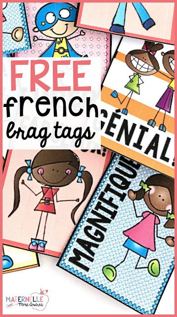 Do you want to try brag tags in your French classroom, but are feeling overwhelmed by the cost and the prep time? Check out this blog post for tips on how to minimize the cost and preparation, and download a FREE set of French brag tags to try!