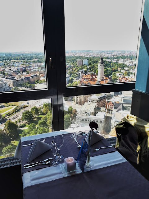 View from the plate of art Panorama tower restaurant