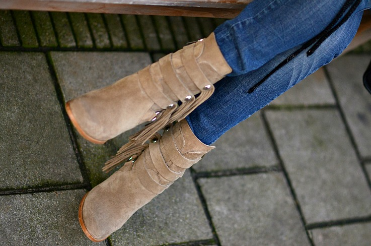 Zara Fringe ankle boots, Camel ankle boots,