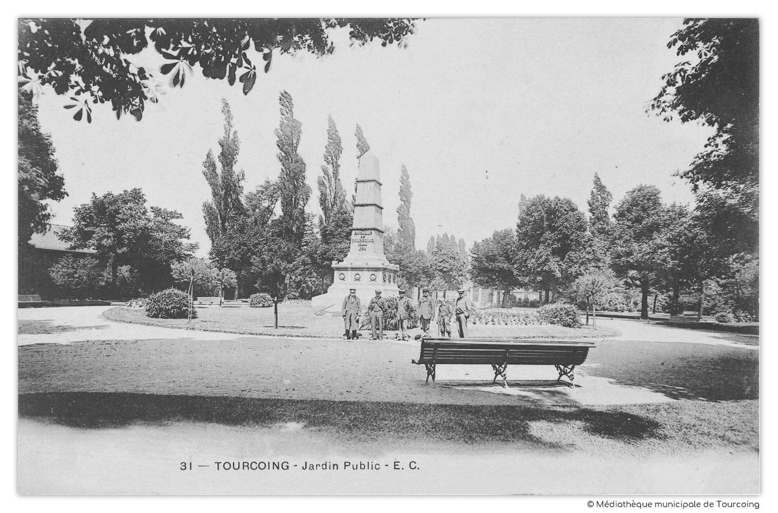 Jardin public, monument Bataille de Tourcoing 1794 - CPA.