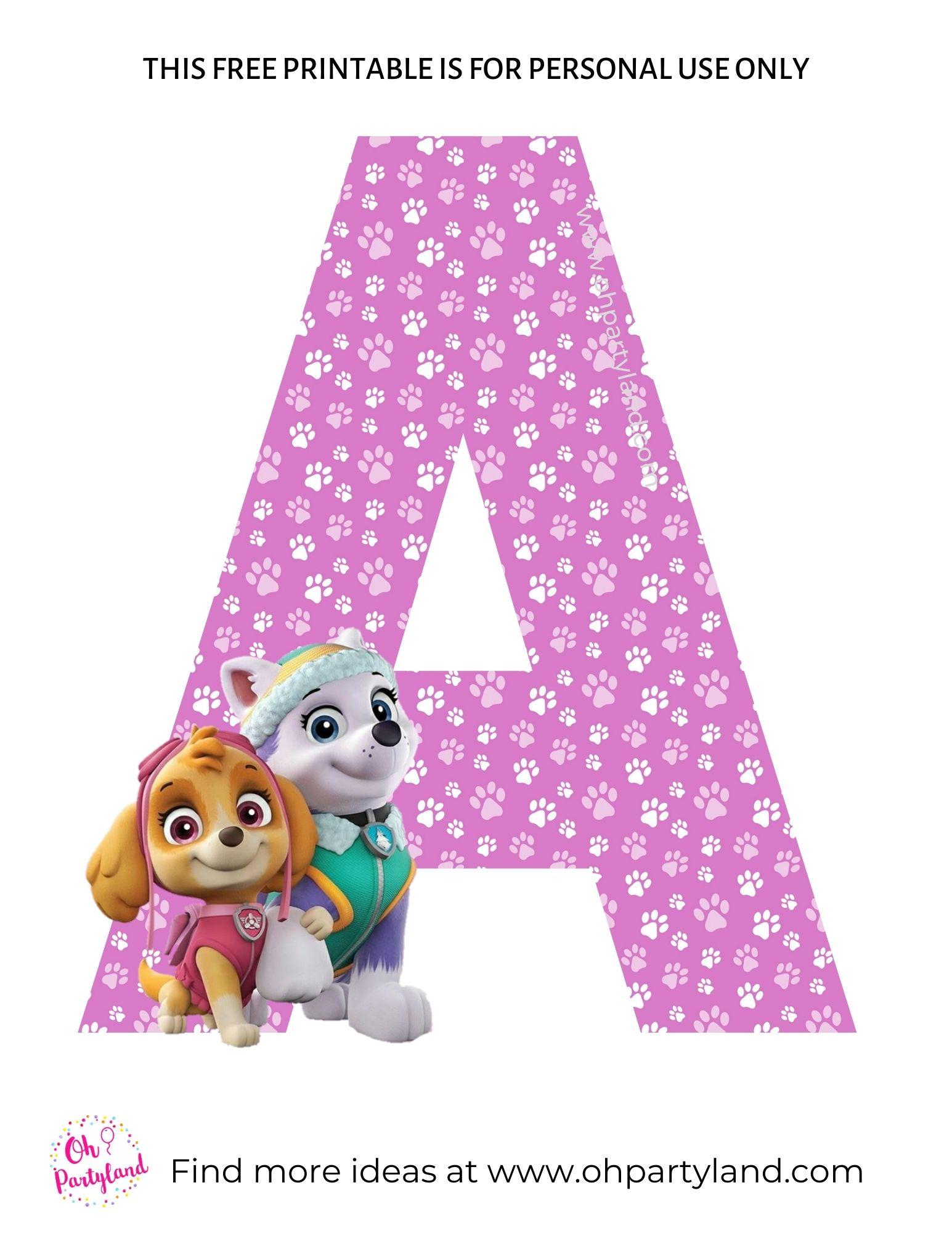printable paw patrol alphabet letter A
