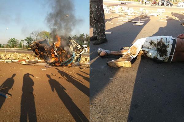 Caminhão pega fogo após tombar na SP-340 sentido Mogi-Guaçu (SP)