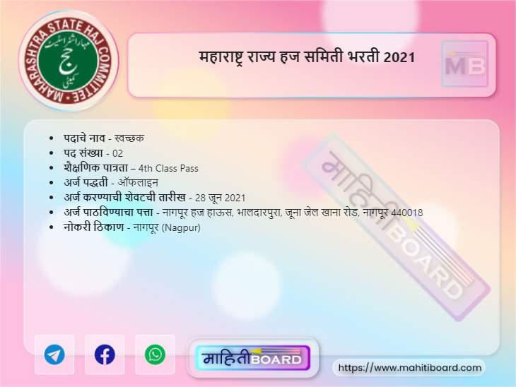 Maharashtra Rajya Haj Samiti Bharti 2021