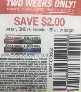 $2 off 1 Excedrin 20ct coupon