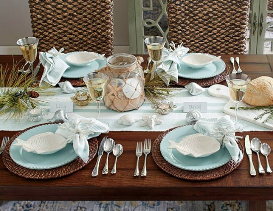 Elegant Light Beach Blue Dinnerware and Table Decor