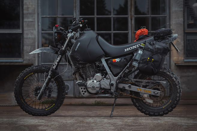 Custom Matte Black Murdered Out Honda NX650 Dominator Zombie Survival Tactical Dirt Bike by Gorm Taube