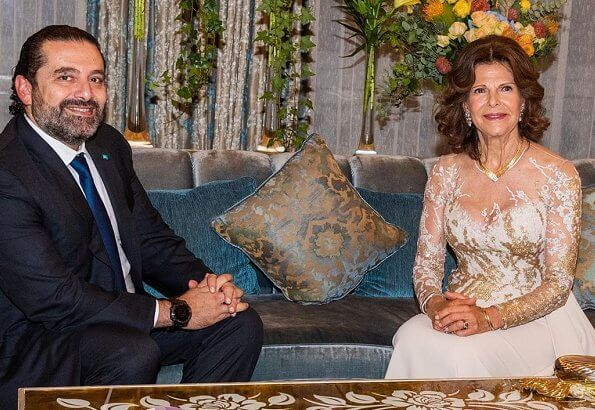 Queen Silvia wore Elie Saab gown from Elie Saab Couture Spring 2019 at charity dinner. Queen met Prime Minister Saad Hariri