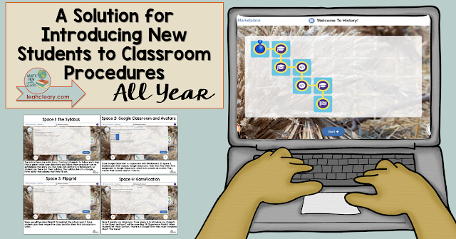 Changing class populations and year-round student transience forced me to think outside the usual beginning of the year classroom activities. Click through to see how I make introductions to beginning of the year procedures work all year in my classroom and to download cheat sheets.