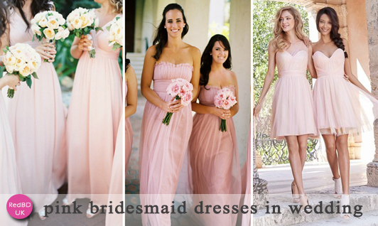 pink bridesmaid dresses in wedding