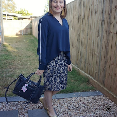 awayfromtheblue Instgagram blouse and pencil skirt monochrome lace business casual spring outfit