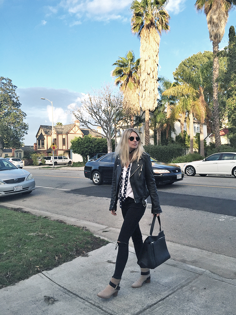 BLK DNM leather jacket, ASOS jeans, Chloé Baobab boots, Céline Edge bag